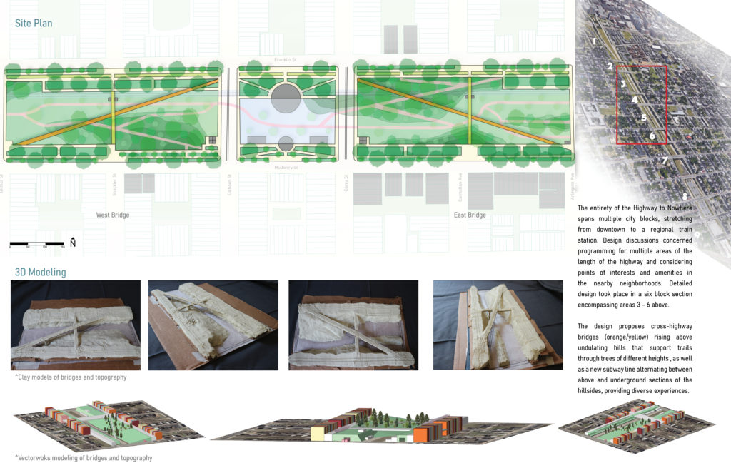 An image of a landscape architecture site plan and 3D models in clay and a computer program.