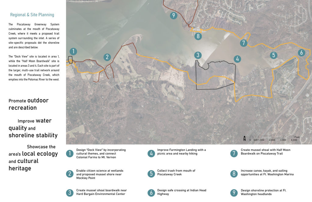 A map with hiking tails along a shoreline.