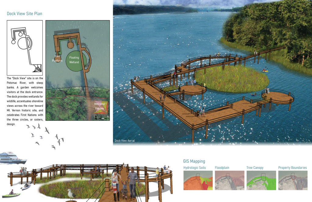 An image with landscape architecture site plans and 3D models of a boat dock in a river area with trees on the shoreline.
