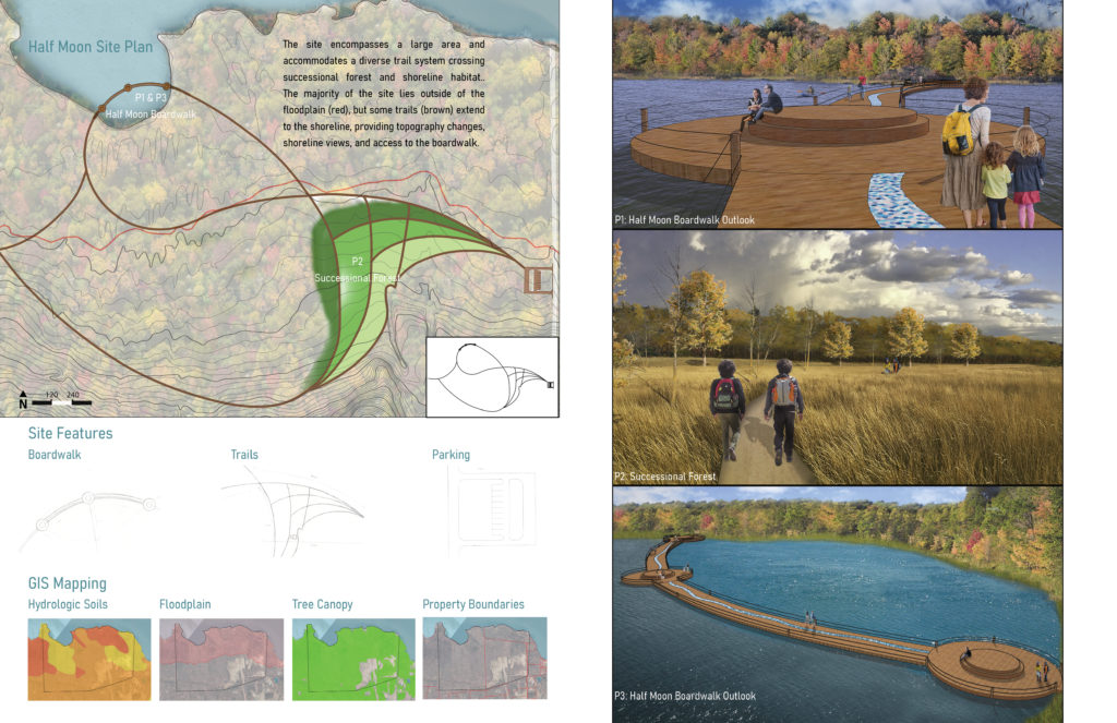 An image with various maps and perspectives showing people on a dock in a water area and people walking through trails in an open meadow bordered by forest.